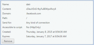 """Cookie """"datr"""" de Facebook"""