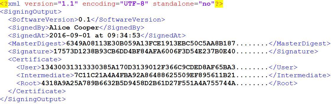 Example of XML signature file.